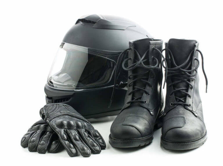 Motorcycle helmet, gloves, and boots